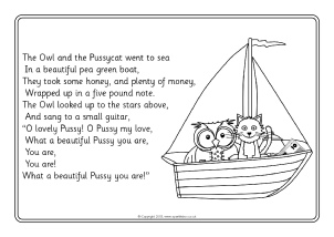 the owl and the pussycat colouring sheets sb10064