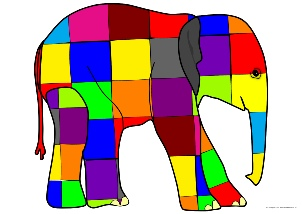 graphic relating to Elmer the Elephant Printable known as Elmer Instruction Elements Tale Sack Printables - SparkleBox