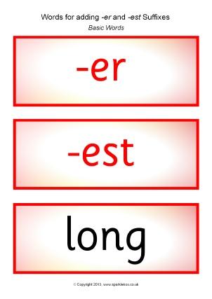 Word List: Words for Adding -er Suffix - SparkleBox