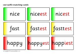 Word List: Words for Adding -est Suffix - SparkleBox