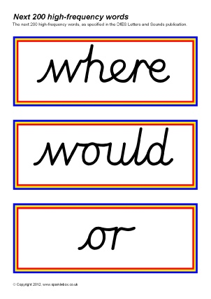 cursive script high frequency sight words printables teaching