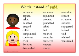 Words to use in essays instead of said