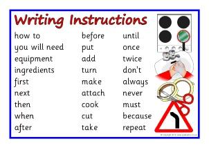 how to write a set of instructions ks1