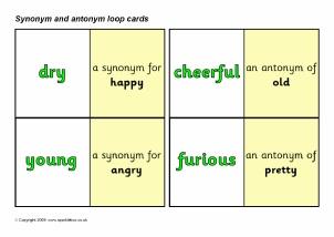 Printable game synonym matching Three Free