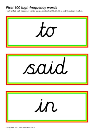 Cursive Script High Frequency Sight Words Printables ...