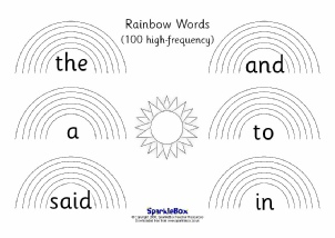 high frequency sight words on rainbows sparklebox