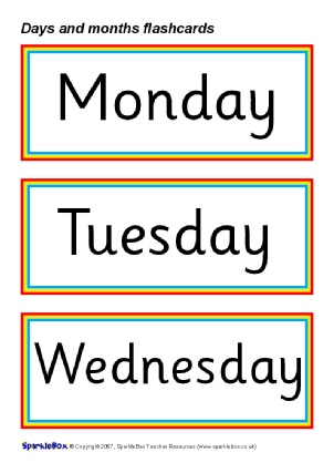 and months flash cards sb1017 a set of simple printable flash cards ...