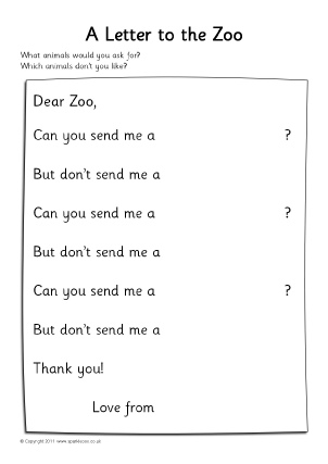 View Preview. Dear Zoo Letter Writing ...  Letter Writing Template
