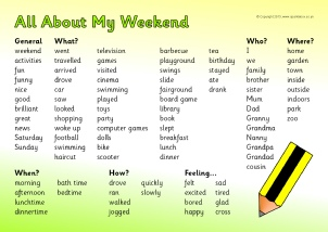 Weekend amp holiday news writing frames and page borders ks1 amp ks2