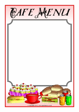 Menu writing frames and printable page borders ks1 ks2 sparklebox for Roman menu template