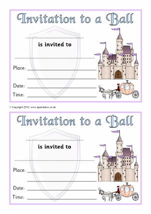 cinderella invitation to the ball template invitation writing frames and printable page borders ks1