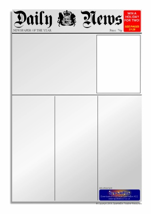 image relating to Printable Newspaper Templates called Newspaper Creating Frames and Printable Webpage Borders KS1
