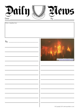 Newspaper Writing Frames And Printable Page Borders Ks1 Ks2