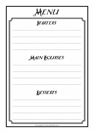 Menu writing frames and printable page borders ks1 ks2 for Tudor menu template