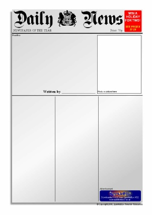 Newspaper writing frames and printable page borders ks1 ks2 newspaper writing templates sb6535 pronofoot35fo Images