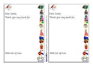 santa thank you letter writing frames sb1118