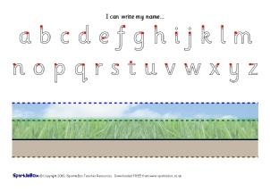 name writing practise teaching resources printables sparklebox. Black Bedroom Furniture Sets. Home Design Ideas