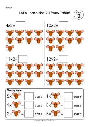 Counting in 2s primary teaching resources and printables for 10x table worksheets