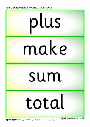 Year 2 Maths Vocabuary Cards - SparkleBox