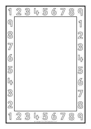 Printable Maths Page Borders - SparkleBox Number Border Black And White