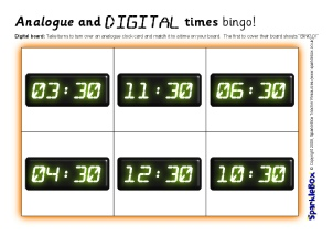 Matching Analog and Digital Clocks Worksheets For Preschool and ...