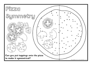Free Symmetry Primary Teaching Resources And Printables  Sparklebox Pizza Toppings Symmetry Activity  Black And White Sb