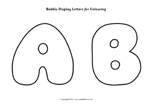 bubble display letters for colouring sb9745