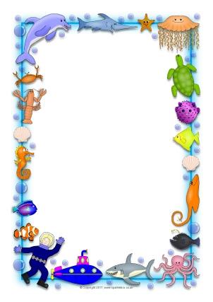 Ocean-Themed A4 Page Borders - SparkleBox