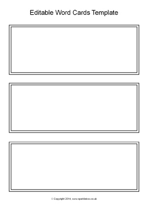 Editable Black And White Word Cards Template (SB10512)
