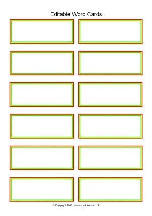 Editable Primary Classroom Flash Cards - Sparklebox