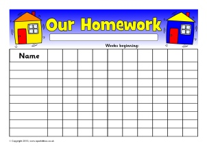 picture relating to Printable Homework Chart referred to as Research Data and History-Holding - SparkleBox