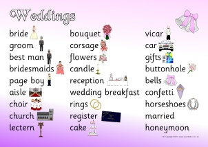 words associated with marriage and weddings