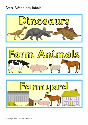 Small World Area Printable Classroom Signs and Labels for ...
