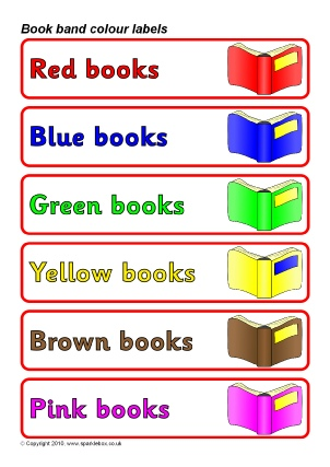 Book band colour labels book shelf labels sb3286