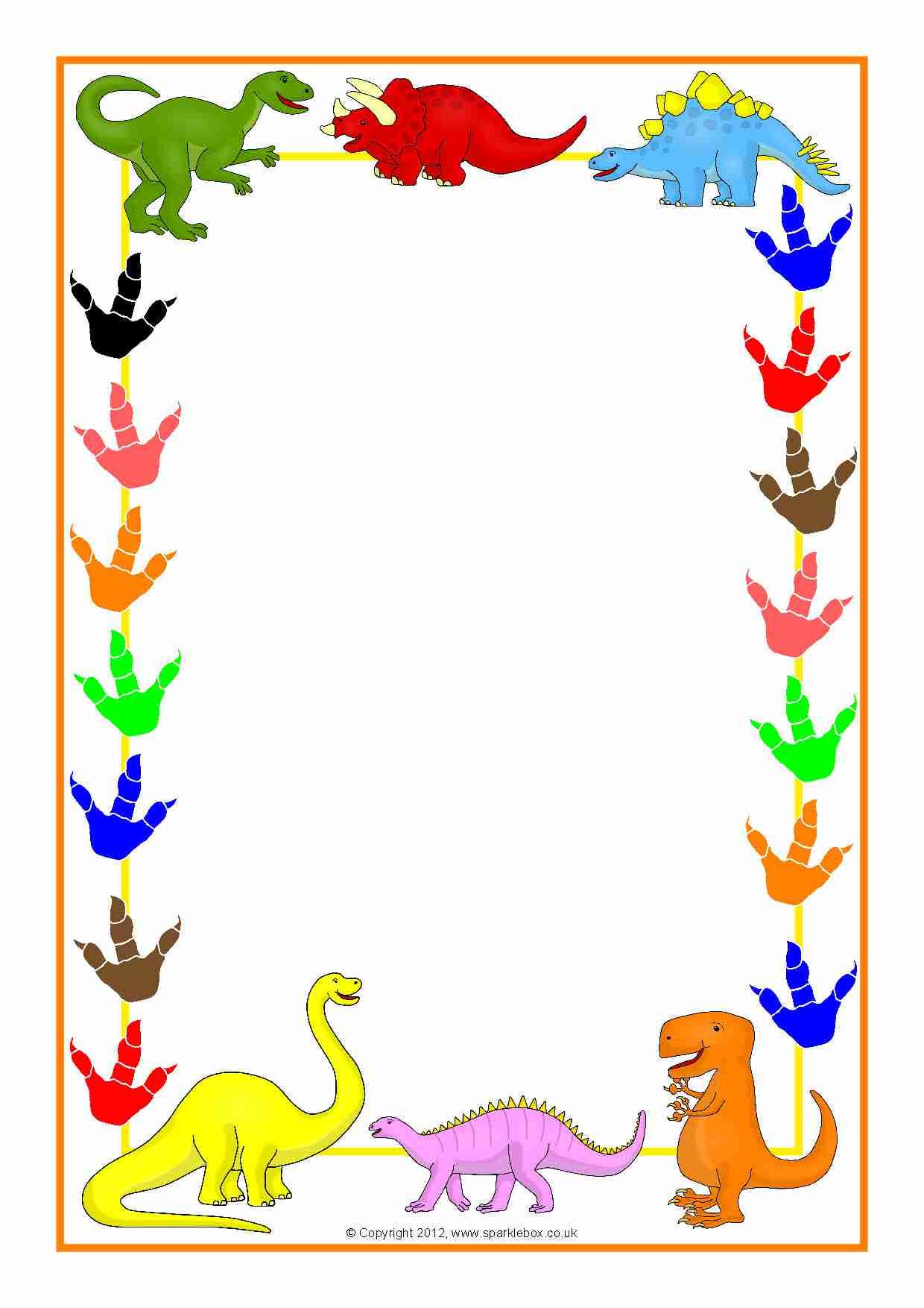 Dinosaurs Themed A4 Page Borders Sb3978 Sparklebox