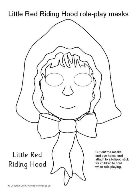 Little Red Riding Hood Role Play Masks Black And White Sb8738