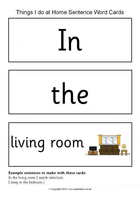 Things I Do At Home Sentence Word Cards Sb10214 Sparklebox