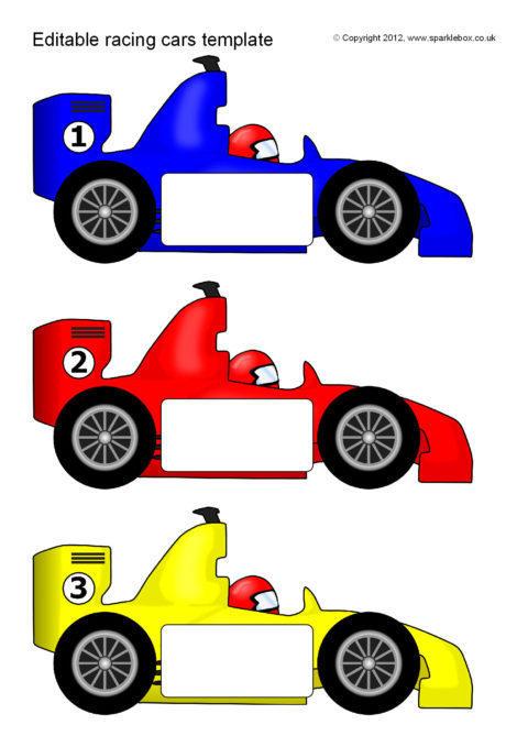 Editable Racing Car Templates (SB7757) - SparkleBox