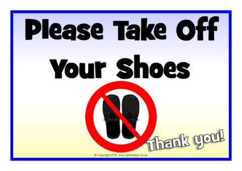 picture relating to Please Remove Your Shoes Sign Printable Free identified as Acquire Your Footwear Off / Shoe Absolutely free Zone Symptoms (SB11713