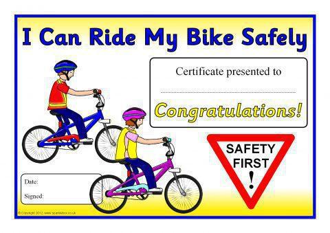bike safety award certificates sb8006 sparklebox