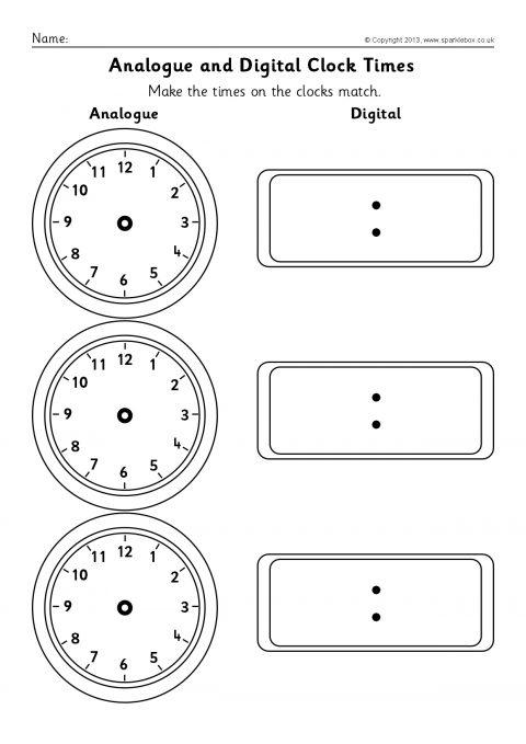 Blank Matching Worksheets : Blank analogue and digital clock times worksheets sb