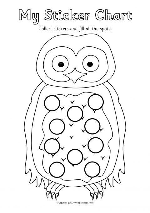 owl sticker reward charts  sb11786