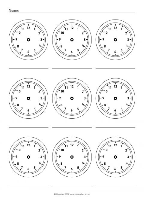 picture about Blank Clock Printable named Additional Blank Clock Worksheets (SB11479) - SparkleBox