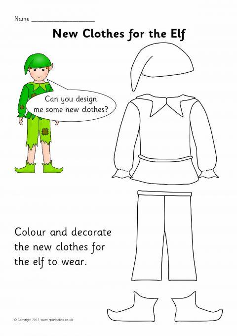 Elf Clothes Design And Colouring Sheets Sb8180 Sparklebox