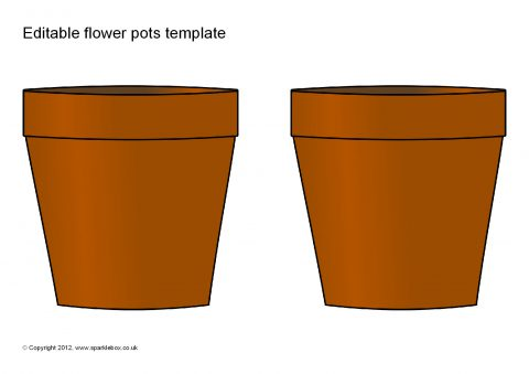 graphic about Flower Pot Template Printable named Editable Flower Pots Template (SB7955) - SparkleBox