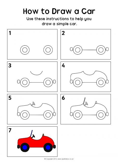Step by step how to draw a car preview