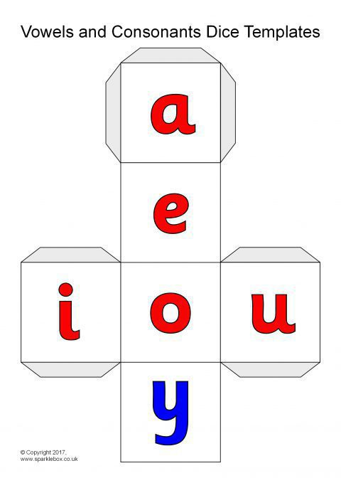 Vowels and Consonants Dice Net Templates (SB12080 ...