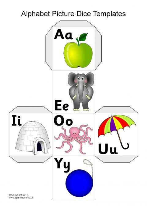 Alphabet Picture Dice Net Templates (SB12083) - SparkleBox