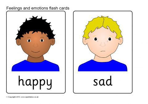 image about Emotion Flashcards Printable named Thoughts and Feelings Flash Playing cards (SB9512) - SparkleBox