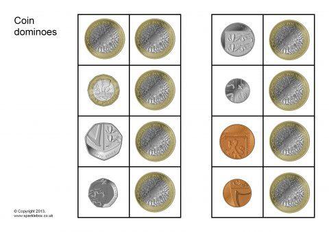 coin dominoes sb9521 sparklebox. Black Bedroom Furniture Sets. Home Design Ideas
